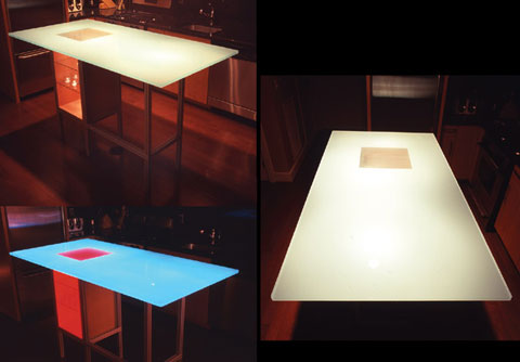 Glass Kitchen Table. the Luminous Glass Table