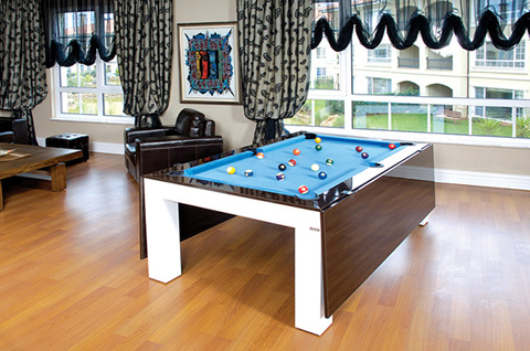 Dining table fusion pool table dining table combo for Dining room game room combo