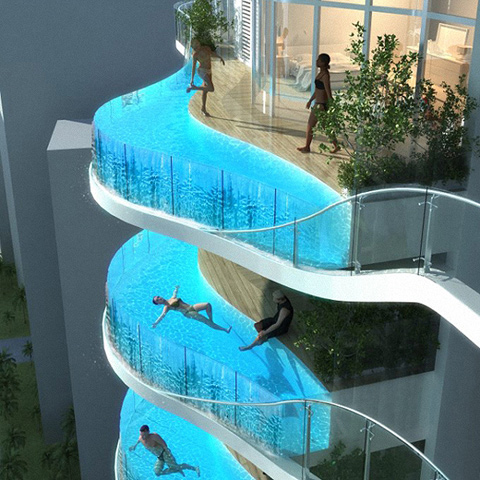 Beautiful Hotel Balcony Swimming Pools