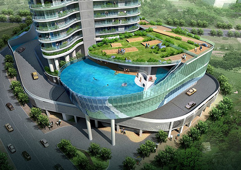 Hotel balcony swimming pools amazing diy interior for Garden pool dubai