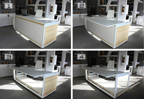 bed underneath desk concept