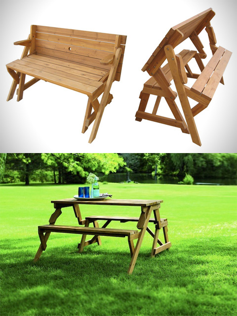 A Garden Bench Turns Into A Picnic Table | WooHome