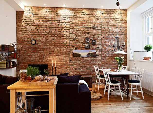home touch with brick wall 4 - Interior Design On Wall At Home