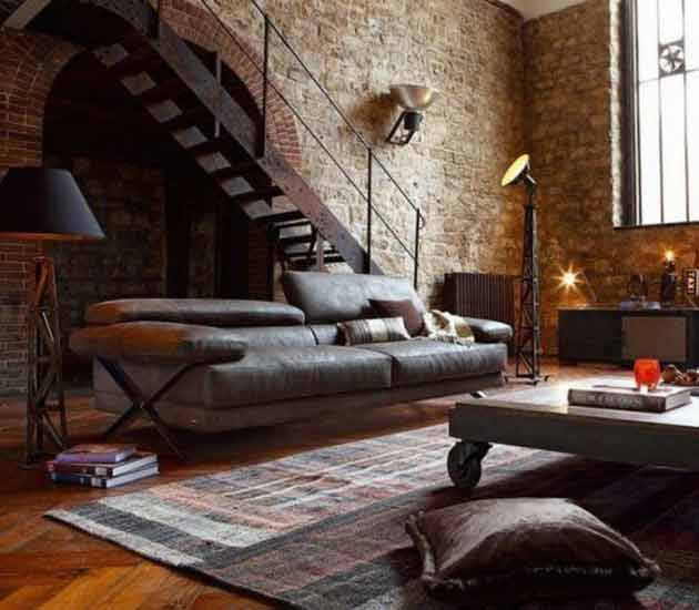 Industrial Home Interior 35 ideas - give your home a rustic or industrial touch with brick
