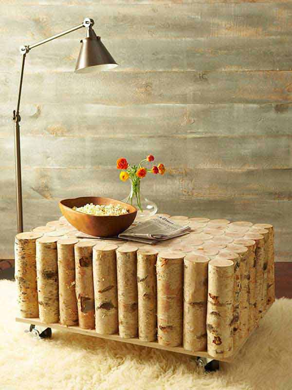 DIY Birch Tree Log Coffee Table