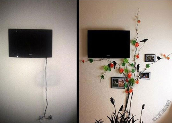 20 creative diy ideas to hide the wires in the wall room for Ideas to cover tv wires