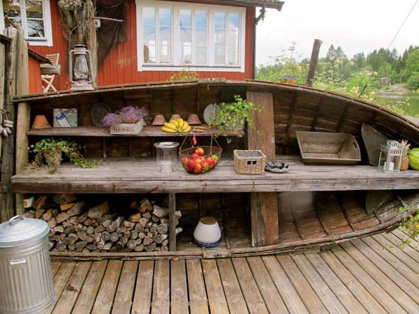 Rustic Outdoor Kitchen From An 15 Clever Ideas For Reuse Boats