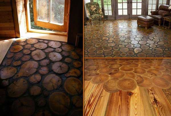 40 diy log ideas take rustic decor to your home amazing for Diy wood flooring ideas