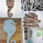 Seahorse On Wall Made Of Driftwood