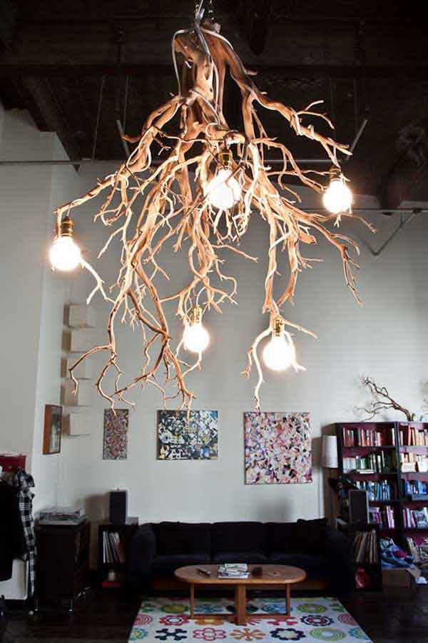 30 Creative DIY Ideas For Rustic Tree Branch Chandeliers - Amazing ...