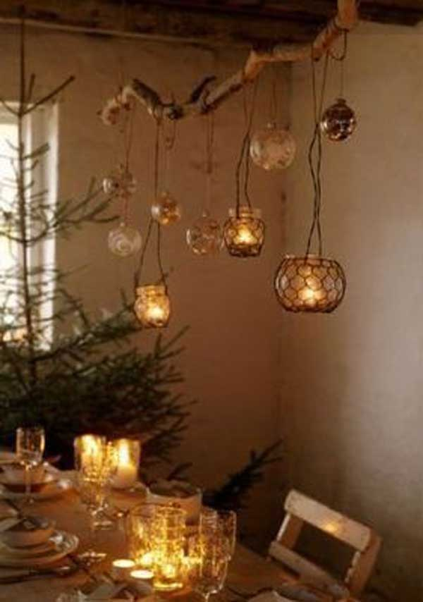 30 creative diy ideas for rustic tree branch chandeliers for Hanging candles diy