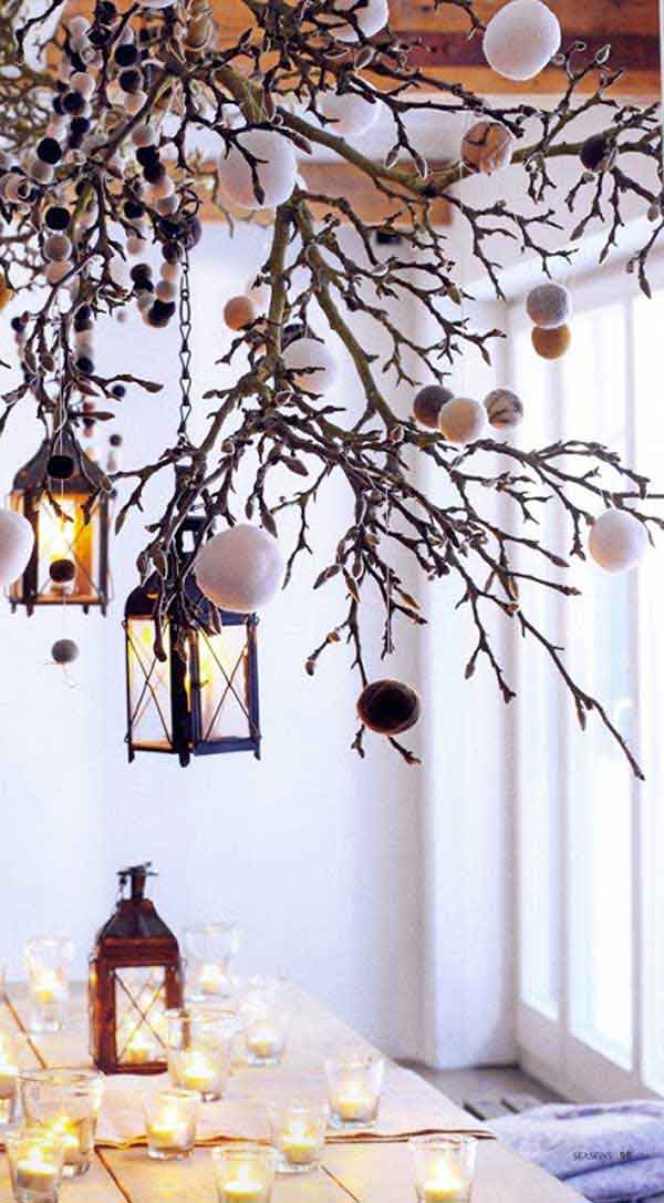 30 creative diy ideas for rustic tree branch chandeliers - Deco table de noel fait maison ...