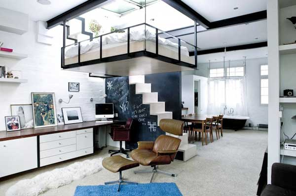 Bachelor Apartment Features A Bed Suspended From The Ceiling ...