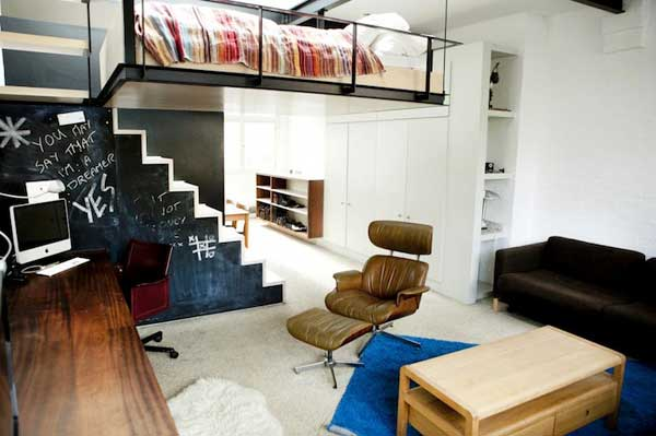 Bachelor Apartment Features A Bed Suspended From The