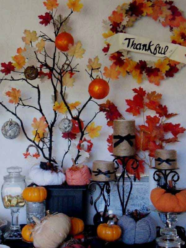 28 great diy decor ideas for the best thanksgiving holiday for Thanksgiving home decorations