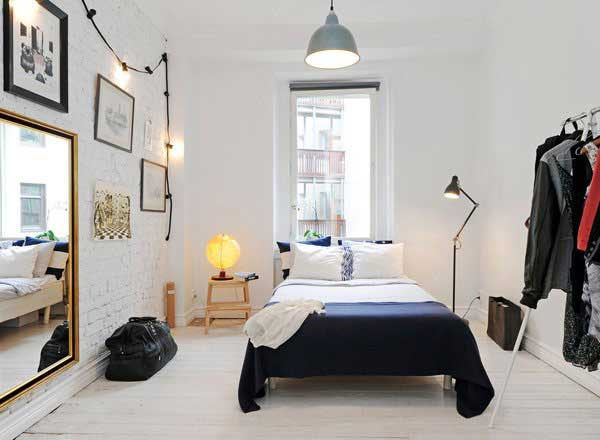 35 inspiring ideas to make your small bedroom look larger Industrial scandinavian bedroom
