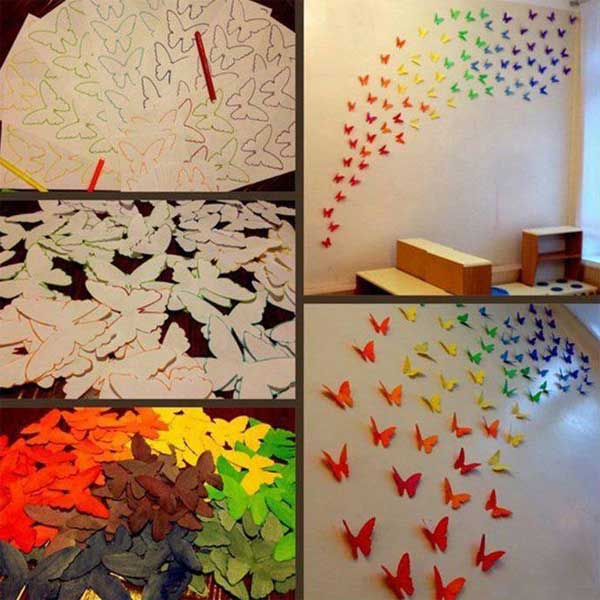 DIY Paper Butterflies Wall Art Genius Home Decor Ideas 21