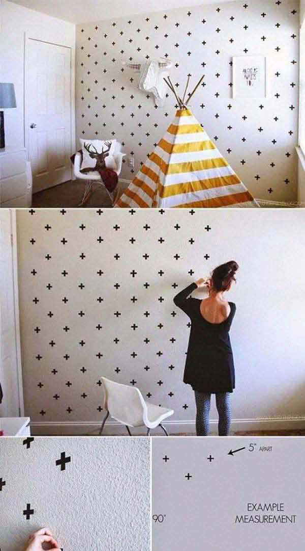30 cheap and easy home decor hacks are borderline genius amazing diy tape wall genius home decor ideas 6 2 solutioingenieria Images