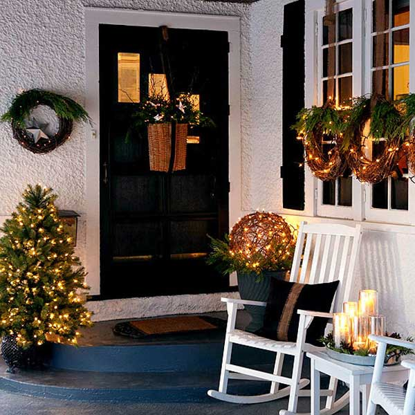 diy christmas porch ideas 15 - Front Door Entrance Christmas Decoration