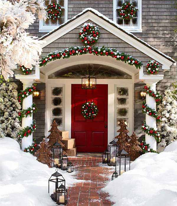 diy christmas porch ideas 2 - Christmas Column Decorations
