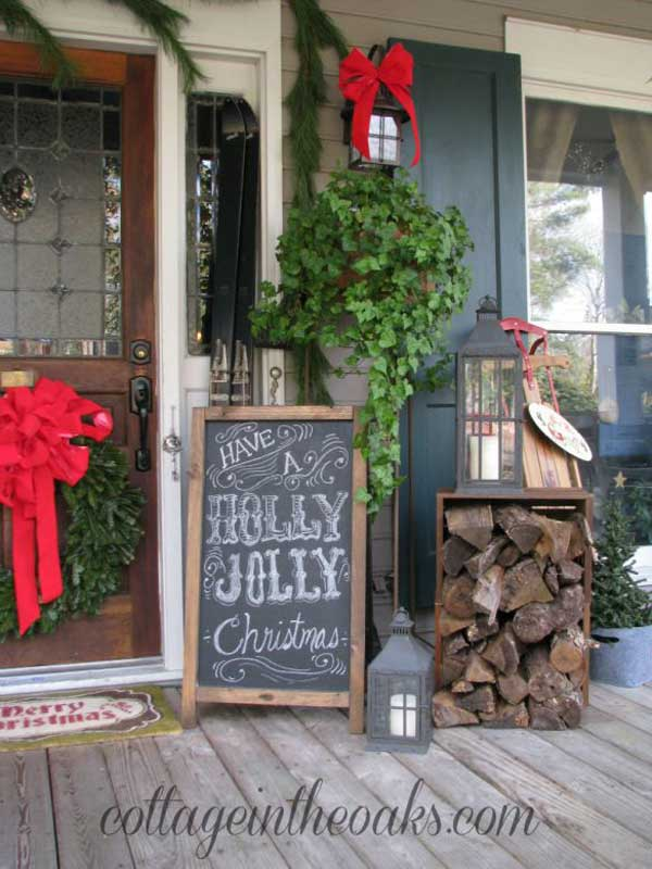 40 cool diy decorating ideas for christmas front porch for Ideas for decorating my home for christmas