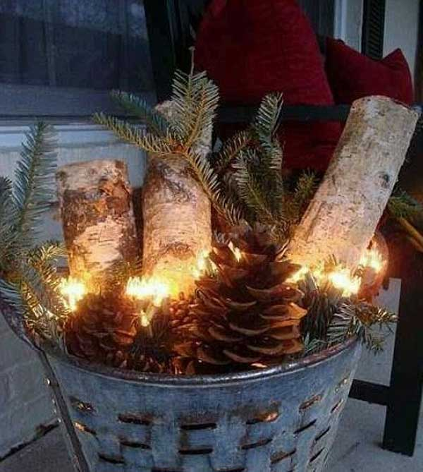 diy christmas porch ideas 3 - Decorating Front Porch Urns For Christmas