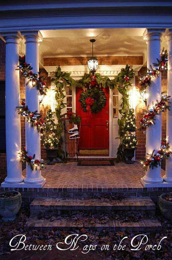 diy christmas porch ideas 32 - Christmas Column Decorations