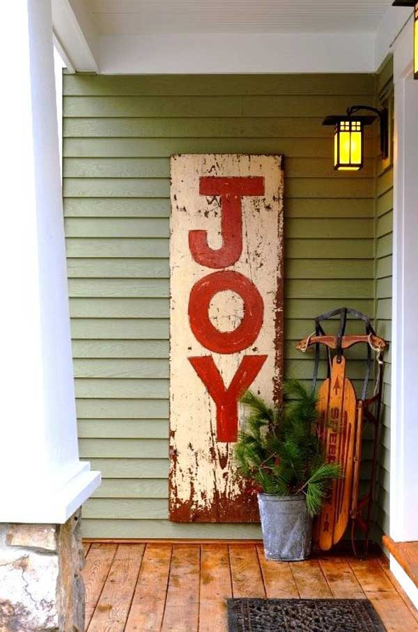 40 cool diy decorating ideas for christmas front porch for Sign decoration