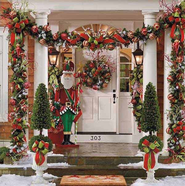 diy christmas porch ideas 8 - Front Door Entrance Christmas Decoration