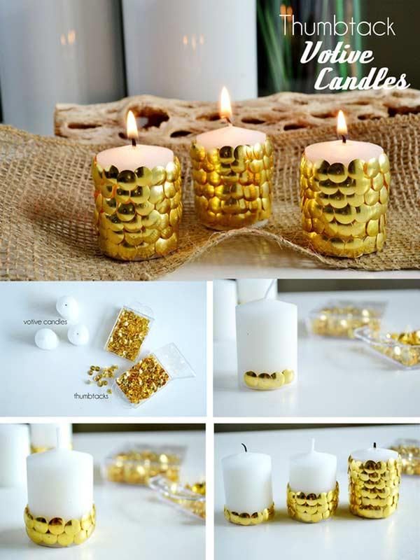 decoração de ano novo vela dourada