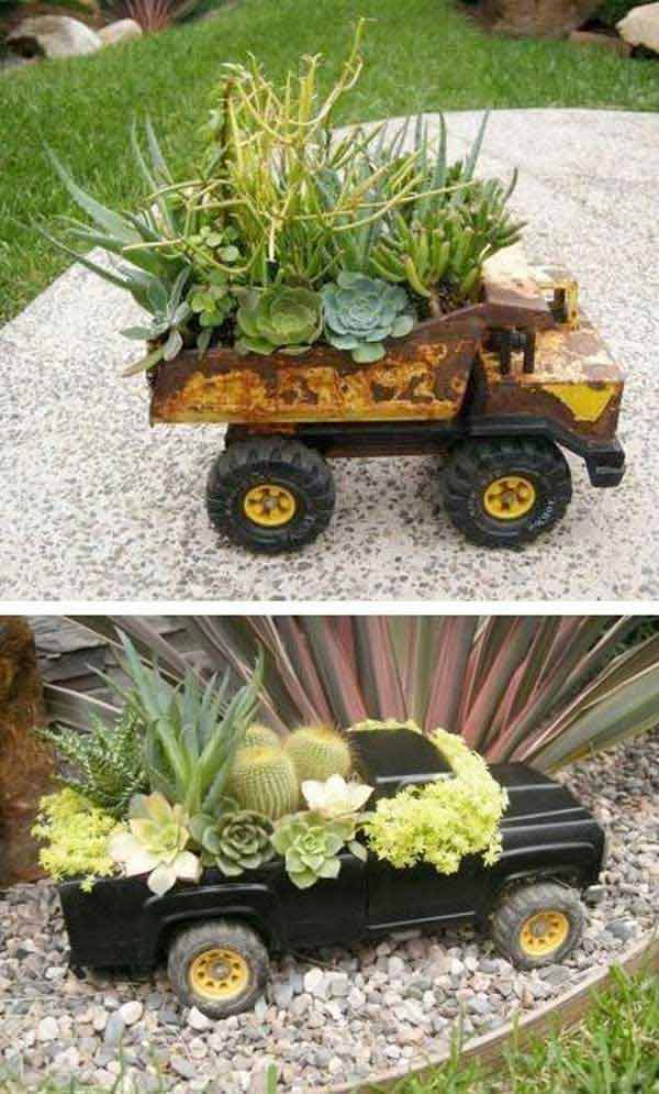 Top 30 stunning low budget diy garden pots and containers - Idees deco jardin recup ...