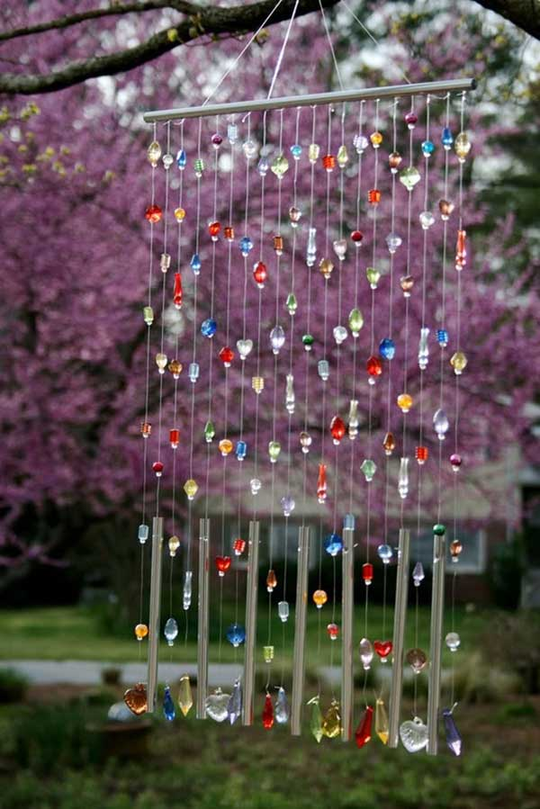 Stained Glass Garden Art Wind Chimes