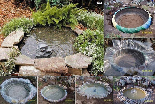 Old Tractor Tire Garden Pond
