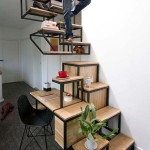 Suspended Staircase with Desk and Storage Space by Mieke Meijer