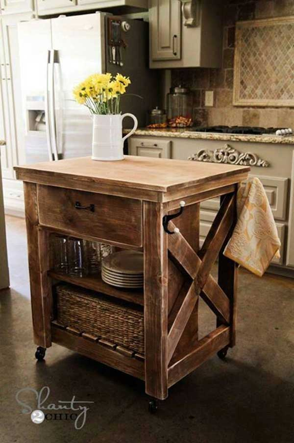 rustic diy dresser kitchen island idea | 32 Simple Rustic Homemade Kitchen Islands - Amazing DIY ...