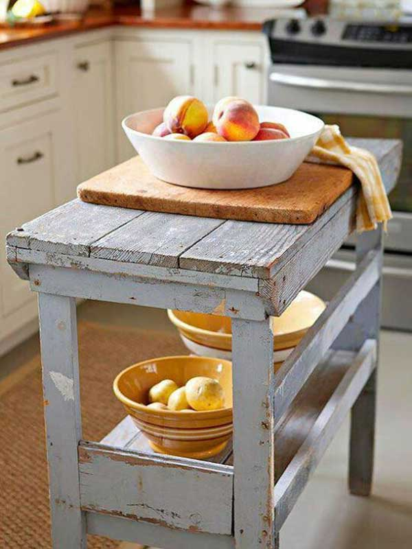 32 Simple Rustic Homemade Kitchen Islands - Amazing DIY ... on Rustic:fkvt0Ptafus= Farmhouse Kitchen  id=39481
