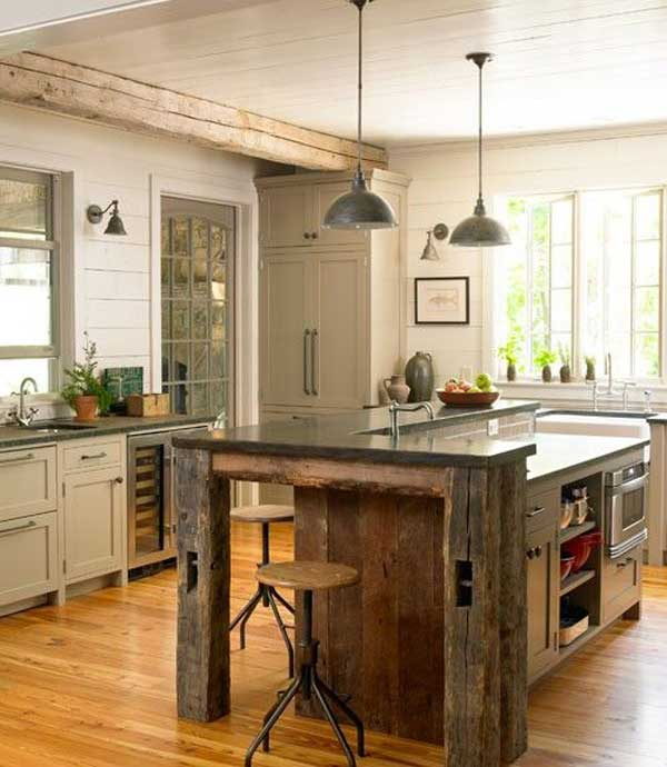 Kitchen Island Lighting Rustic: 32 Simple Rustic Homemade Kitchen Islands