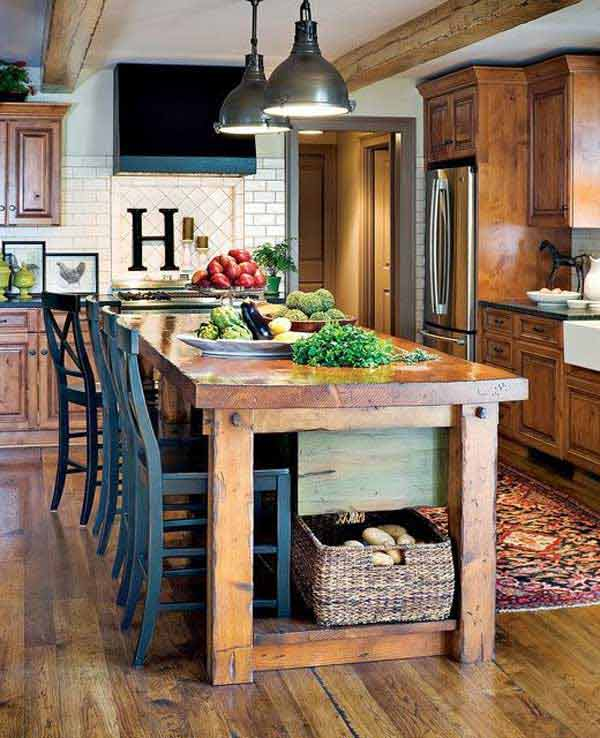 Kitchen Island Ideas With Seating: 32 Simple Rustic Homemade Kitchen Islands