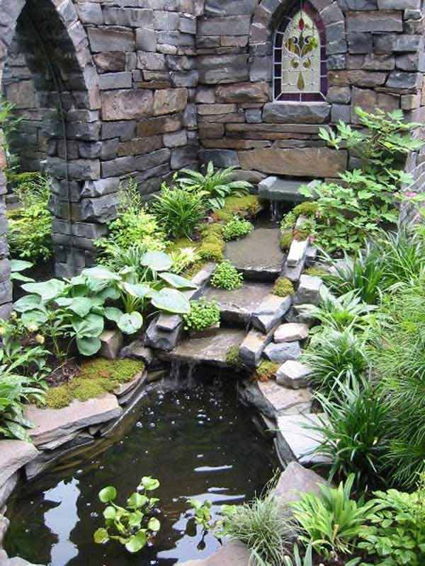 Small Backyard Pond Designs water feature to match retaining wall outdoorsy pinterest pond design and fish ponds Backyard Pond Water Garden 5