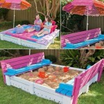 A Pallet Covered Sandbox with Benches