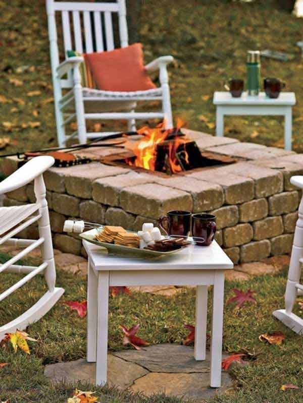 Square Fire Pit built from concrete blocks