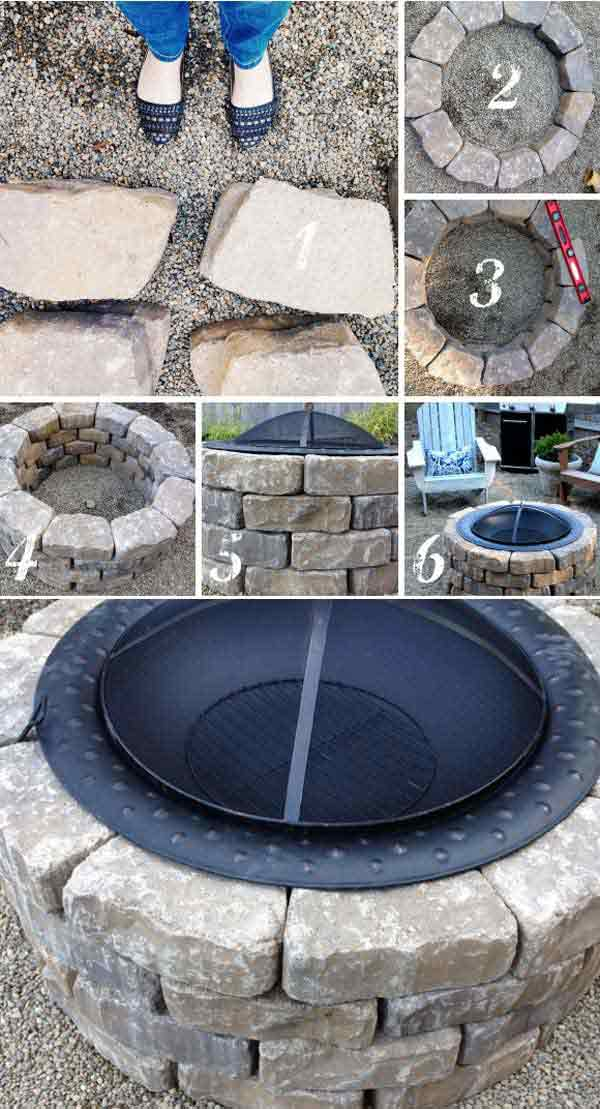 steel firepit bowl with concrete block base