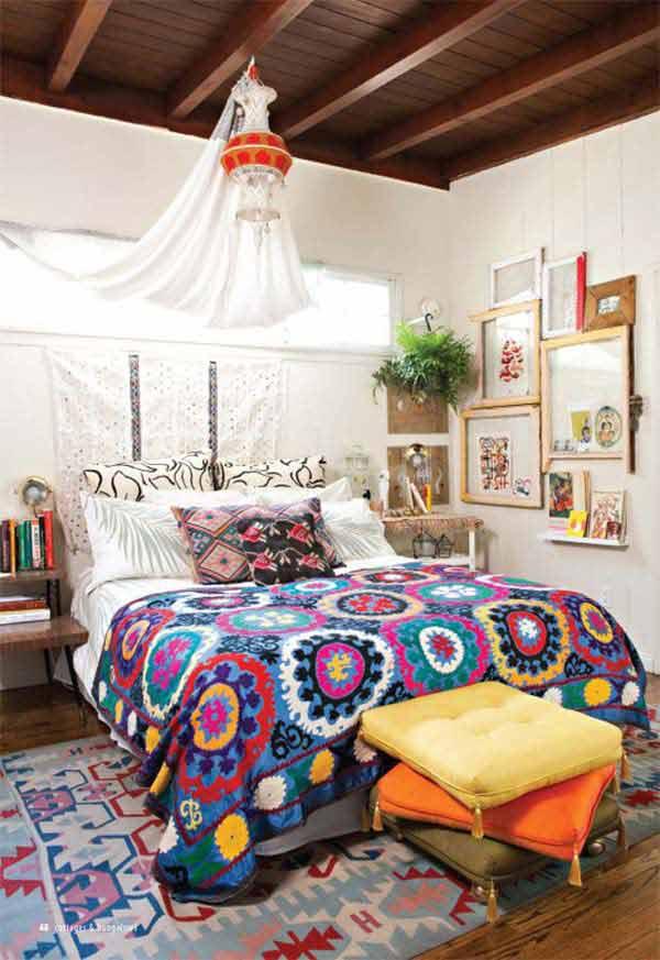35 Charming Boho-Chic Bedroom Decorating Ideas - Amazing ... on Boho Bedroom Decor  id=67624
