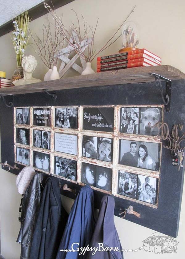 Old Door Photo Frame and Coat Rack Ideal for a Hallway