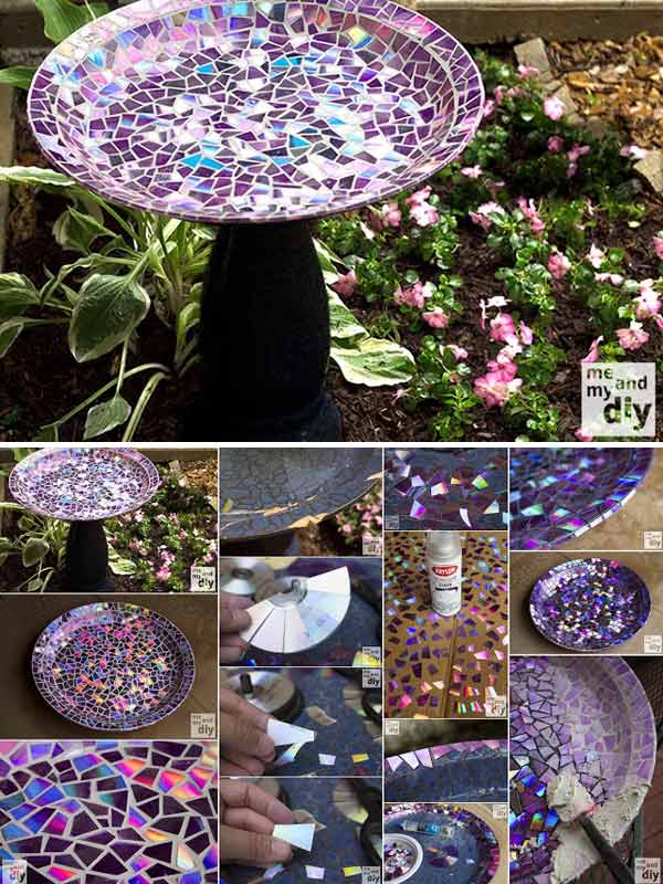 Beautiful DIY Birdbath With Recycled DVDs