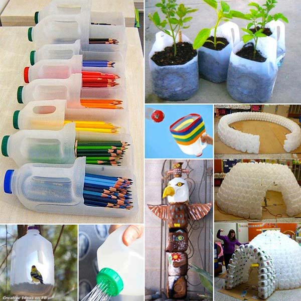 40 diy decorating ideas with recycled plastic bottles for Room decoration from waste material