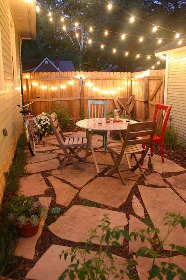 23 small backyard ideas how to make them look spacious and - Luces patio exterior ...
