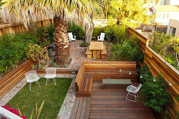 23 small backyard ideas how to make them look spacious and for Garden decking ideas pinterest