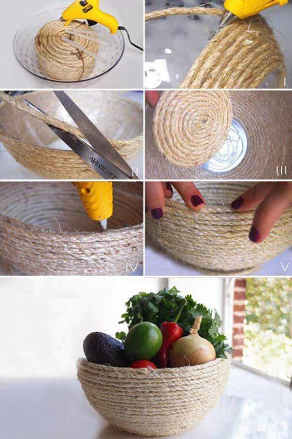 diy home decor with rope 27 - Home Decor Craft Ideas