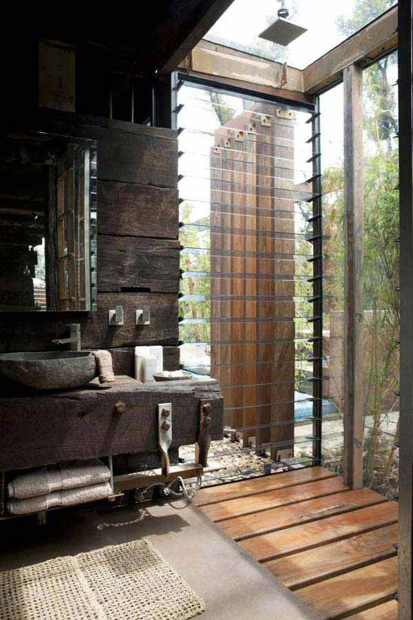 30 inspiring rustic bathroom ideas for cozy home amazing for Indoor outdoor bathroom design ideas